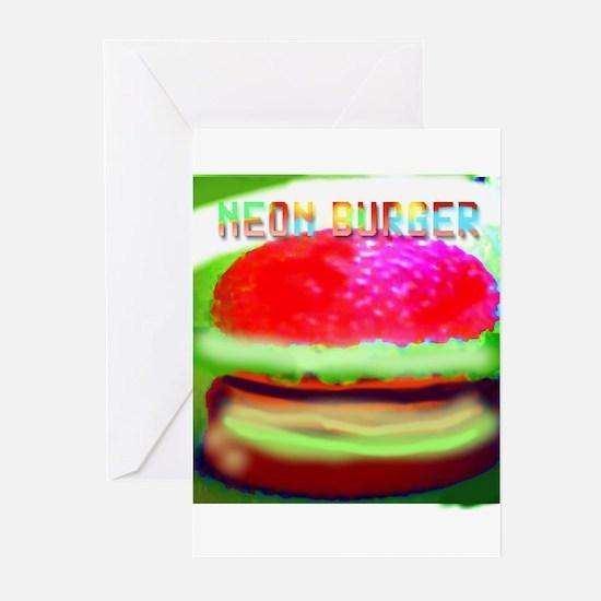 neon burger Greeting Cards (Pk of 10)
