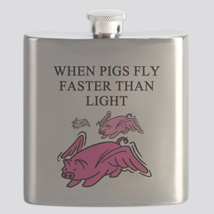 when pigs fly physics gifts t-shirts Flask