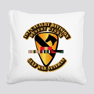 Army - DS - 1st Cav Div Square Canvas Pillow