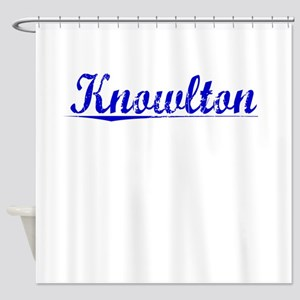 Knowlton, Blue, Aged Shower Curtain