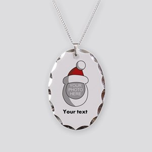 Personalized Santa Christmas Necklace Oval Charm
