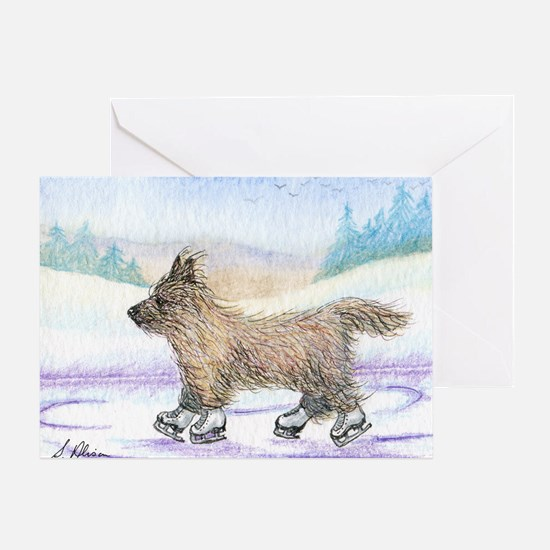 Cairn Terrier ice skater Greeting Card