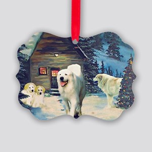 Great Pyrenees Picture Ornament - Winter Cottage