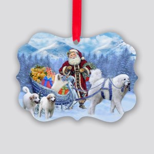 Great Pyrenees Picture Ornament - Pyrs And Santa