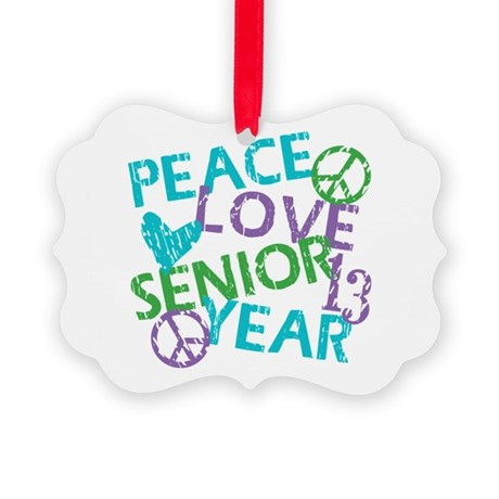 PEACE LOVE SENIOR 2013 Picture Ornament