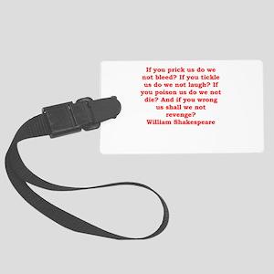 william shakespeare Large Luggage Tag