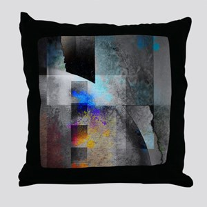 Industrial Grunge with Gray and Blue Throw Pillow