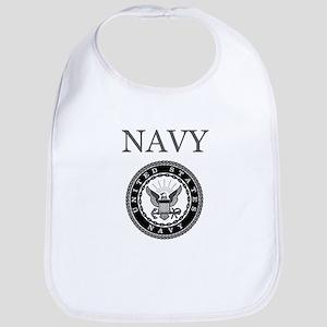 Grey Navy Emblem Bib