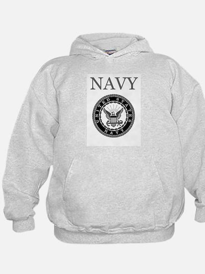 Grey Navy Emblem Hoodie