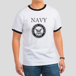 Grey Navy Emblem Ringer T