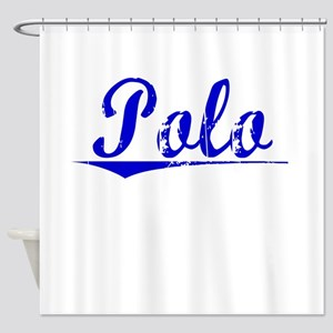 Polo, Blue, Aged Shower Curtain