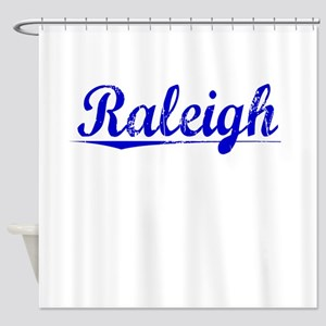 Raleigh, Blue, Aged Shower Curtain