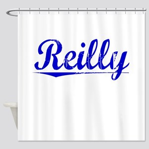 Reilly, Blue, Aged Shower Curtain