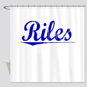 Riles, Blue, Aged Shower Curtain