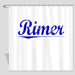 Rimer, Blue, Aged Shower Curtain