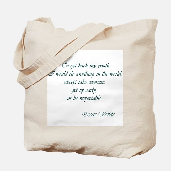Wilde - to get back my youth Tote Bag