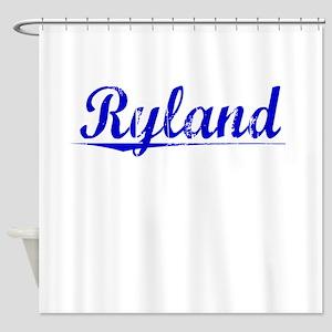 Ryland, Blue, Aged Shower Curtain