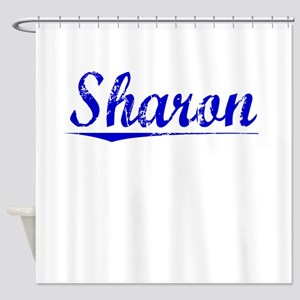 Sharon, Blue, Aged Shower Curtain