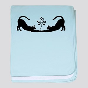 Cats Stretching with Lotus baby blanket