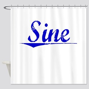 Sine, Blue, Aged Shower Curtain