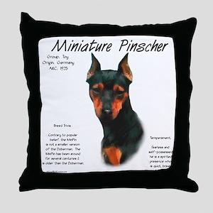 Min Pin (black & rust) Throw Pillow