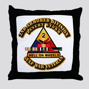 Army - DS - 2nd AR Div Throw Pillow