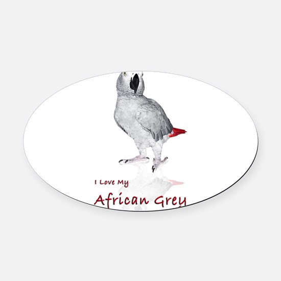 i love african greys Oval Car Magnet