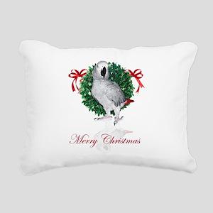 african grey christmas Rectangular Canvas Pillow