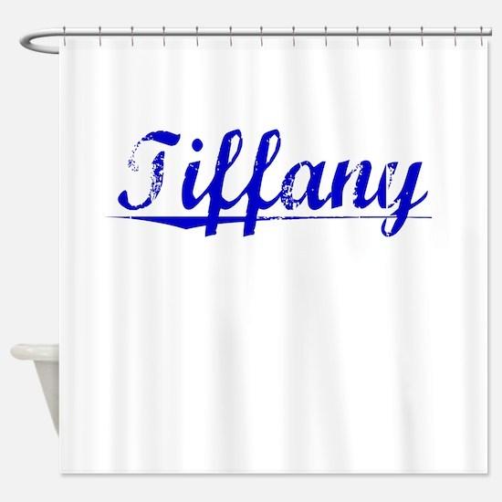 Tiffany, Blue, Aged Shower Curtain