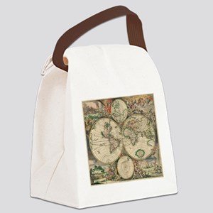 Antique World Map Canvas Lunch Bag