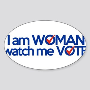 i am woman watch me vote Sticker (Oval)