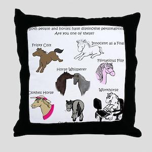 Horsey Personalities Throw Pillow