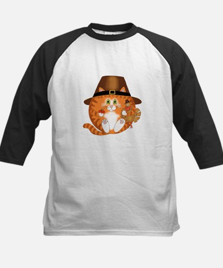 Bauble Cat Thanksgiving Kids Baseball Jersey