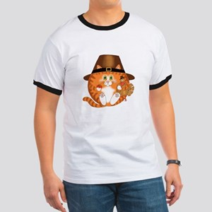 Bauble Cat Thanksgiving Ringer T