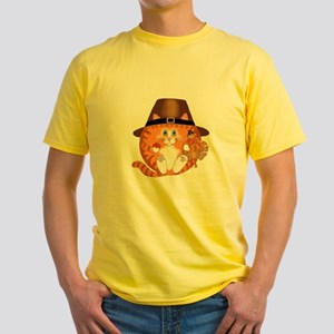 Bauble Cat Thanksgiving Yellow T-Shirt