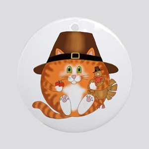 Bauble Cat Thanksgiving Ornament (Round)
