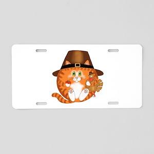 Bauble Cat Thanksgiving Aluminum License Plate