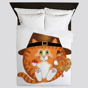Bauble Cat Thanksgiving Queen Duvet
