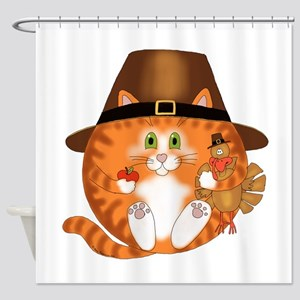 Bauble Cat Thanksgiving Shower Curtain