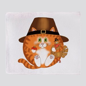 Bauble Cat Thanksgiving Throw Blanket