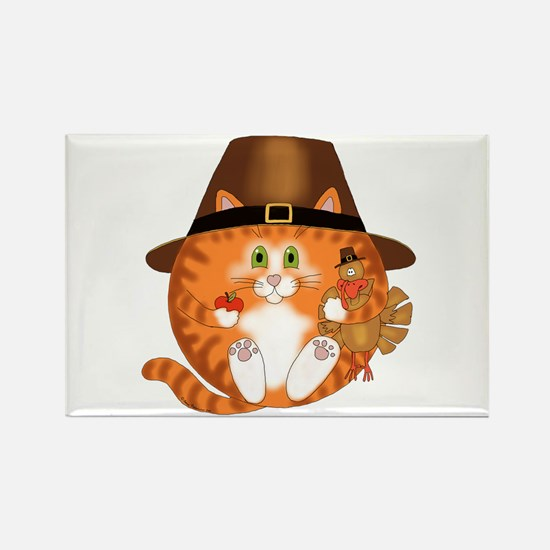 Bauble Cat Thanksgiving Rectangle Magnet