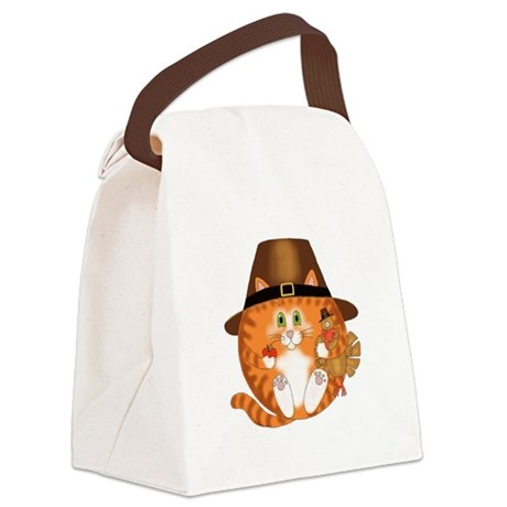 Bauble Cat Thanksgiving Canvas Lunch Bag