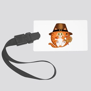 Bauble Cat Thanksgiving Large Luggage Tag