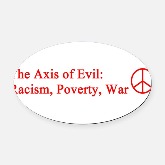 axis_evil_red.png Oval Car Magnet