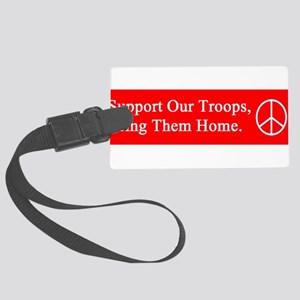 support_our_troops_red_on_white Large Luggage