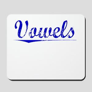 Vowels, Blue, Aged Mousepad