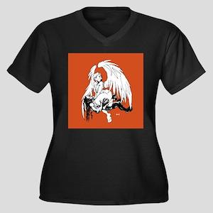 Orange Crush Women's Plus Size V-Neck Dark T-Shirt