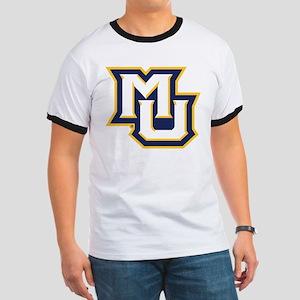 Marquette MU Letters White Navy Gold Ringer T