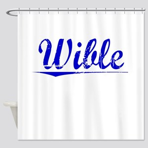 Wible, Blue, Aged Shower Curtain