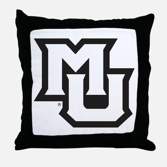 MU Letters Navy Blue Throw Pillow